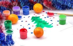 儿童的在白色背景的圣诞节图片 免版税库存照片
