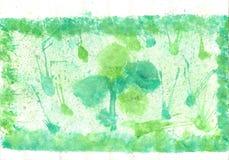 儿童的在纸的水彩画绘画 免版税库存图片