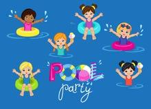 儿童的在背景的池边聚会 库存照片