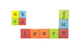 儿童的字母表块。 免版税库存图片