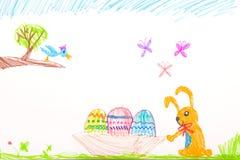 儿童的感觉的笔图画-复活节快乐 图库摄影