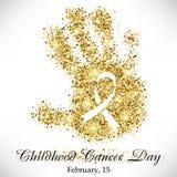 儿童的手形状从金黄闪烁的与里面丝带 免版税库存照片