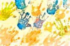 儿童的手绘画 免版税库存图片