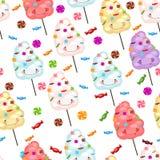 儿童的无缝的样式滑稽的棉花糖和糖果 向量例证