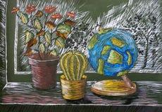 儿童的树胶水彩画颜料绘画'与植物和地球的静物画' 库存照片