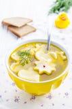 儿童的汤用饺子 免版税图库摄影