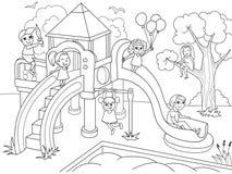 儿童的游乐场着色 传染媒介例证黑白 库存图片