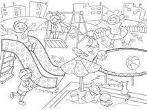 儿童的游乐场着色 传染媒介例证黑白 库存照片