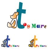 儿童的玩具店概念商标 库存例证