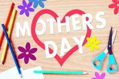 儿童的祝贺与母亲节 免版税库存照片