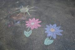 儿童的粉笔画 向量例证