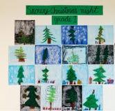 儿童的艺术-斯诺伊圣诞夜 免版税图库摄影