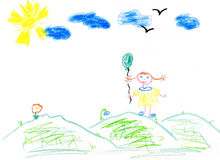 儿童的蜡笔画 库存照片