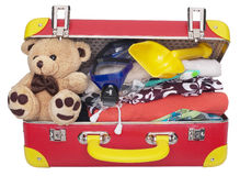 儿童的被包装的手提箱 免版税库存图片