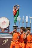 儿童的Kung fu展示 免版税库存照片