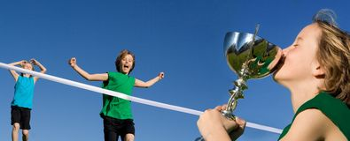儿童种族体育运动赢取 免版税库存照片