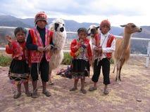 儿童秘鲁传统 库存图片