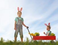 儿童穿戴兔宝宝耳朵 库存图片