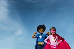 儿童童年特级英雄概念 免版税库存照片