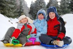 儿童纵向冬天 图库摄影