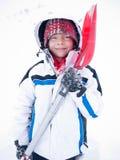儿童纵向雪冬天 免版税库存照片