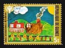 儿童绘画,儿童serie的年,大约1980年 免版税库存照片