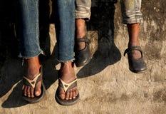 儿童脚 免版税库存照片
