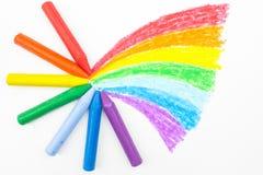 儿童蜡笔画被画的现有量彩虹s 库存图片
