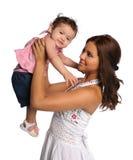 儿童讲西班牙语的美国人母亲 库存照片