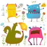 儿童设计的乐趣逗人喜爱的亲切的妖怪 库存图片