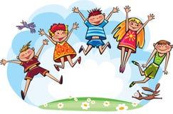 儿童跳 免版税图库摄影