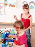 儿童铅笔作用prescooler空间 免版税图库摄影
