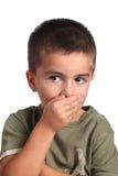 儿童闭合的mounth 免版税库存图片