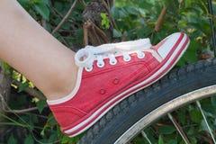 儿童鞋子五颜六色自由式的舒适 免版税图库摄影