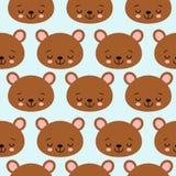 儿童题材传染媒介图象的乐趣无缝的样式纹理设计睡觉熊 向量例证