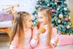 儿童饮料牛奶和吃麦甜饼 女孩谈话 breakfa 免版税图库摄影