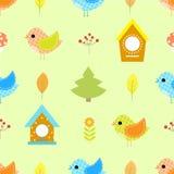 儿童鸟舍的,房子秋天鸟无缝的样式 免版税库存照片