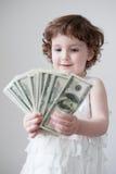 儿童货币业务女孩购物的贸易金融贷款美元 图库摄影