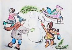 儿童` s图画与雪人的孩子在多雪的天气 库存照片
