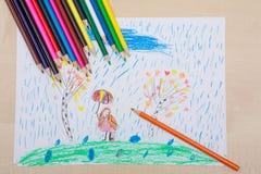 儿童` s图画铅笔 图库摄影