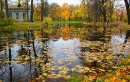 儿童` s房子和儿童` s筑成池塘 免版税库存图片