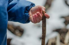 儿童` s手举行一根木棍子 库存图片
