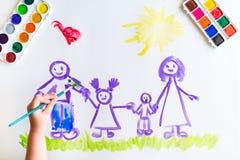 儿童` s手绘家庭的剪影 图库摄影
