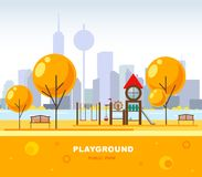 儿童` s操场在city's公园 也corel凹道例证向量 都市未来派的场面 库存例证