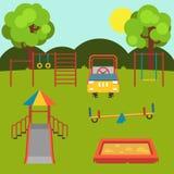 儿童` s操场 集合 与被隔绝的元素的以婴孩主题的平的储蓄例证 向量例证