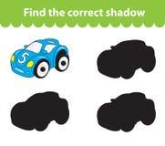 儿童` s教育比赛,发现正确阴影剪影 戏弄汽车,设置比赛发现正确的树荫 也corel凹道例证向量 免版税库存图片