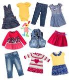 儿童` s衣裳被隔绝的拼贴画集合 图库摄影