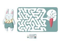 儿童` s迷宫用兔子和红萝卜 困惑孩子的比赛,传染媒介迷宫例证 库存图片