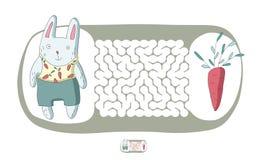 儿童` s迷宫用兔子和红萝卜 困惑孩子的比赛,传染媒介迷宫例证 免版税库存照片