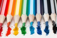 儿童` s画的颜色铅笔 免版税图库摄影